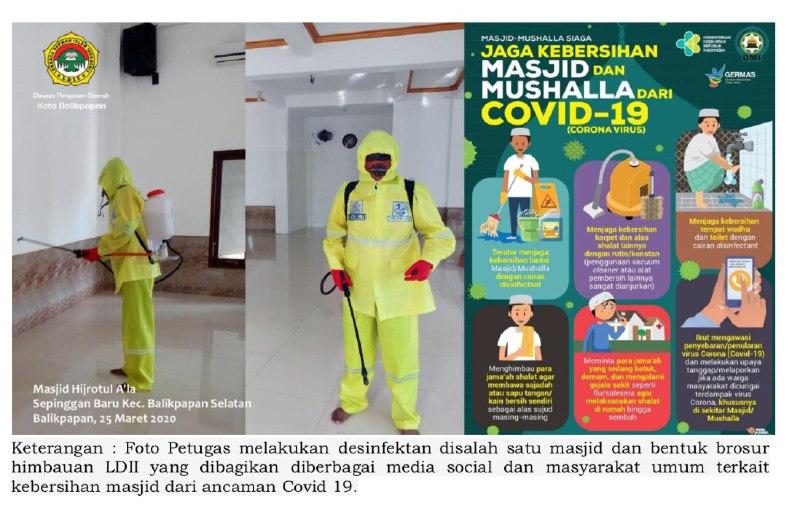 LDII Balikpapan dan Senkom Mitra Polri Cegah Covid-19 dengan Semprotkan Disinfektan